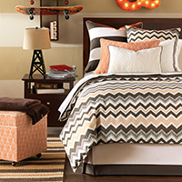 Dawson - chevron bedding,orange chevron bedding,orange bedding,orange and brown bedding,orange and white,brown and orange,contemporary,boys bedding,teen boys bedding,contemporary,modern