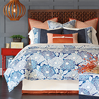 Indira - blue and orange bedding,blue coastal bedding,tropical style bedding,asian bedding,global inspired bedding,beach style,asian style,orange and blue,blue and white,blue floral bedding