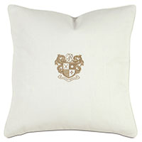 Bel Air Embroidered Decorative Pillow in Bisque