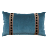 Rudy Velvet Bolster Pillow in Blue