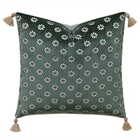 Mint Punch Lasercut Accent Pillow in Dark Green