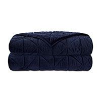 NOVA QUILTED VELVET SUPER KING COVERLET IN INDIGO