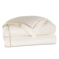 Linea Velvet Ribbon Duvet Cover In Ivory & Aloe