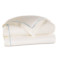 Linea Velvet Ribbon Duvet Cover In Ivory & Azure