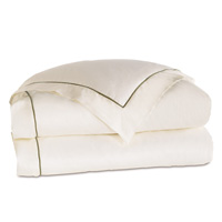 Linea Velvet Ribbon Duvet Cover In Ivory & Oliva