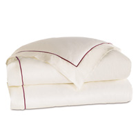 Linea Velvet Ribbon Duvet Cover In Ivory & Shiraz