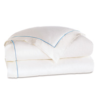Linea Velvet Ribbon Duvet Cover In White & Azure