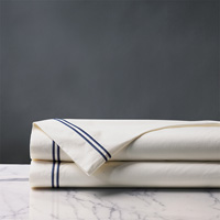 ENZO IVORY/NAVY KING FLAT SHEET