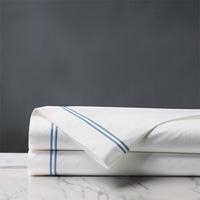 Enzo White/Ocean Flat Sheet