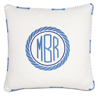 Maritime Embroidered Monogram Accent Pillow in Ivory