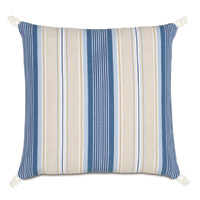 Maritime Stripe Accent Pillow in Blue