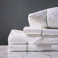 Linea Sheet Set In White & Aloe