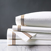 TESSA WHITE/BROWN SHEET SET