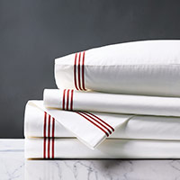 TESSA WHITE/SCARLET SHEET SET