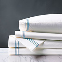 TESSA WHITE/SKY SHEET SET