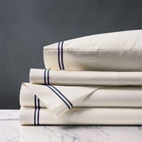 ENZO IVORY/NAVY CAL KING SHEET SET