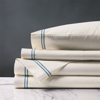 ENZO IVORY/OCEAN TWIN SHEET SET
