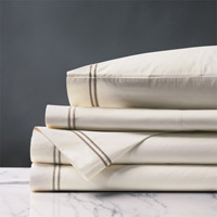 ENZO IVORY/SABLE TWIN SHEET SET