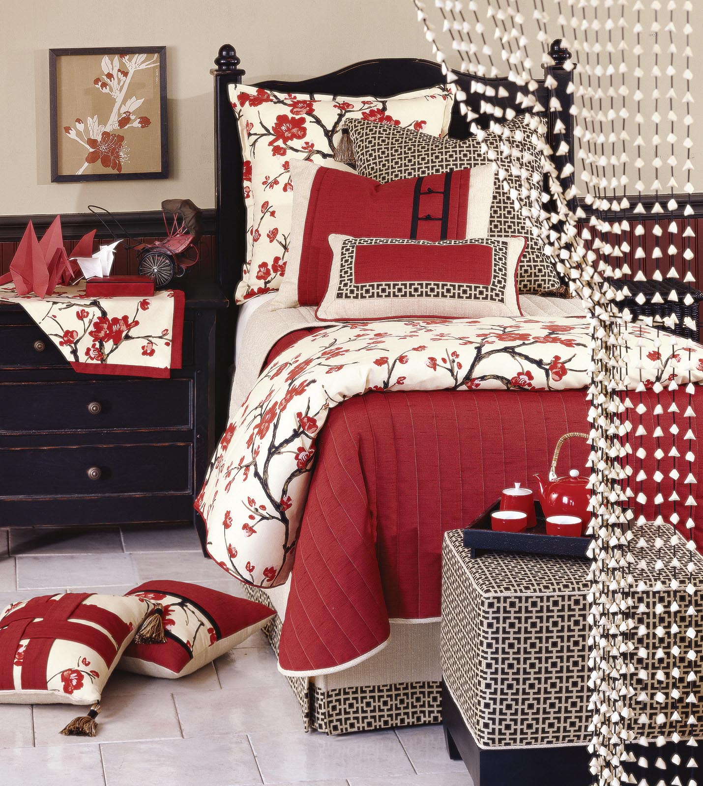 Luxury bedding by eastern accents sakura collection for Asian inspired bedroom sets