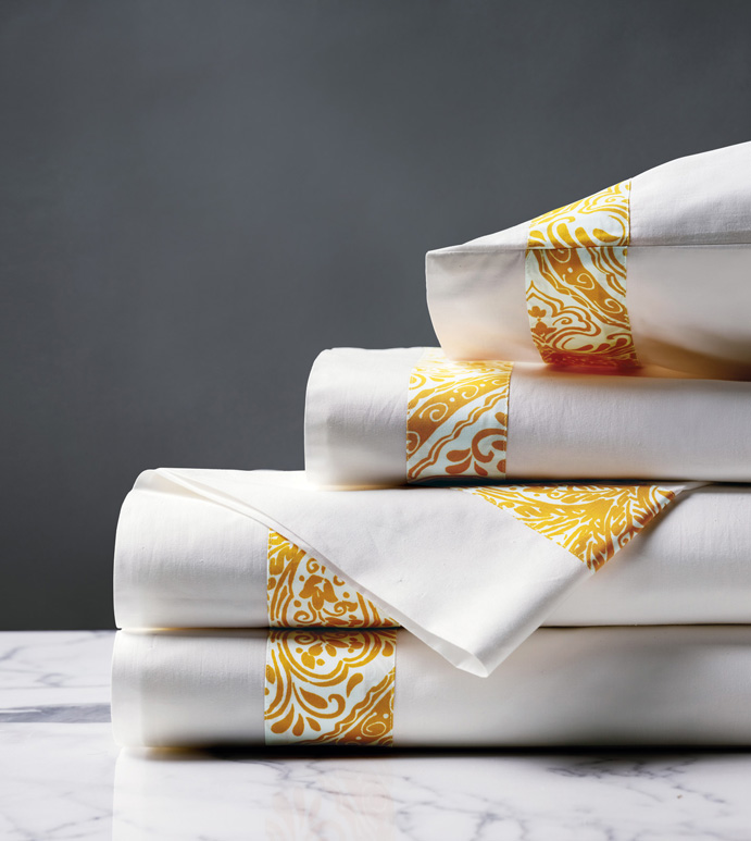 Adelle Percale Sheet Set In Saffron De Medici Fine Linen By Eastern Accents,Most Beautiful Places To Visit In The Us In September
