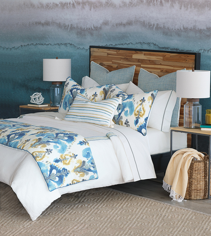 Aoki - bolster, exotic, boho, bohemian, watercolor, painterly, ikat, tyedye, coastal, global, tribal, tropical, ethnic, urban, modern, contemporary, clean, minimal, pattern, accent, blue, yellow, faded, weatehred, tassel, mitered, trim, duvet cover, comforter, blanket, bed set, bedding, bedding collection, luxury, high-end, high-quality, expensive, sham, pillow, decorative pillow, accent pillow, throw pillow, curtains, draperies, button tufted, round, bed scarf, patterned