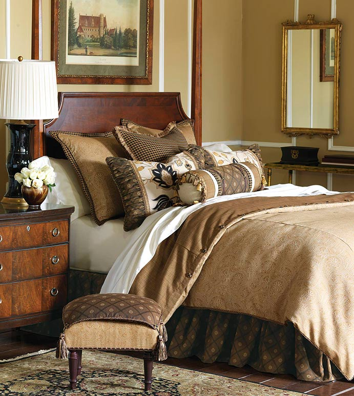 Aston - traditional home bedding,old world bedding,black and brown bedding,traditional country bedding,checkered,ruched beset,brown and gold,tan paisley,ornamented,woven floral,rustic