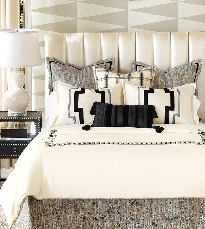 Abernathy Black Cream Neutral Luxury Bedding Designer Modern
