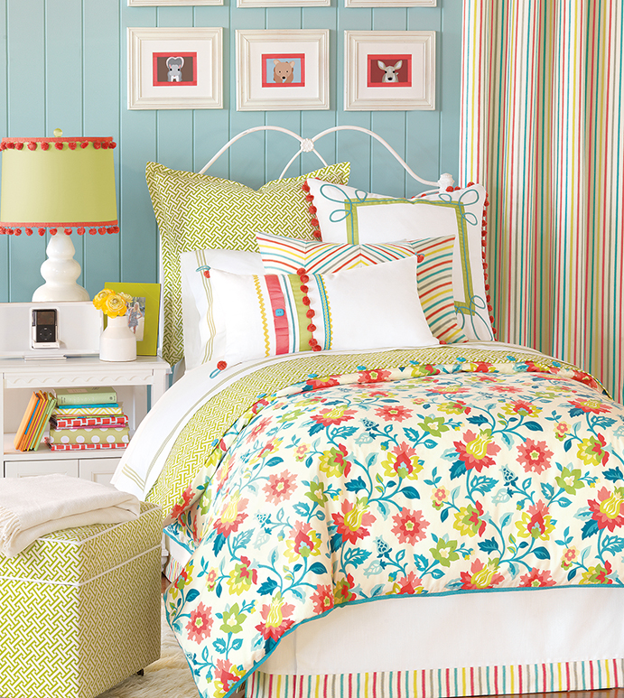 Arcadia - girls room bedding,tween room bedding,colorful girls room bedding,teen room bedding,floral print,rainbow,candy stripe,white and green,white and pink,feminine,bright,funky,lime green
