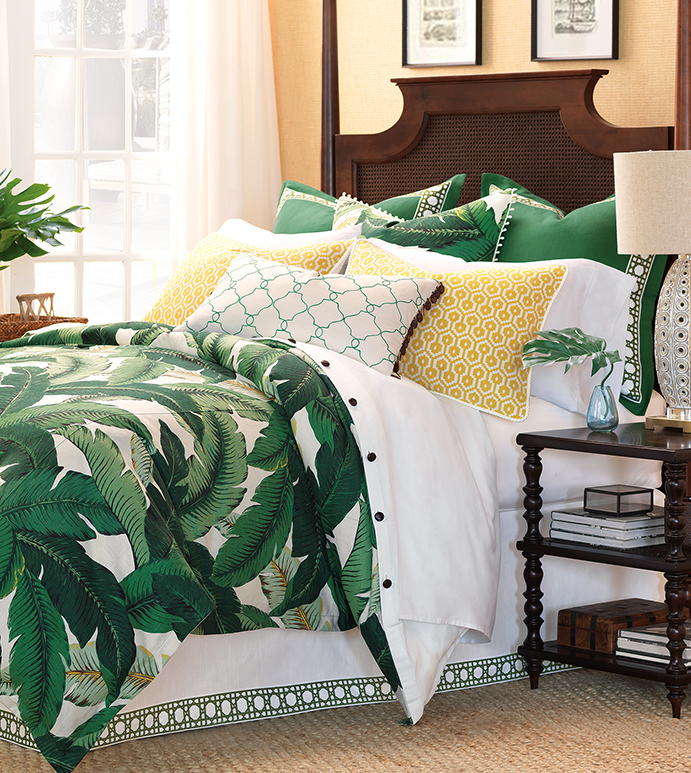 Lanai - green tropical bedding,banana leaf bedding,tropical foliage bedding,dark green tropical bedding,green coastal bedding,beach style,green and yellow,vintage banana leaf