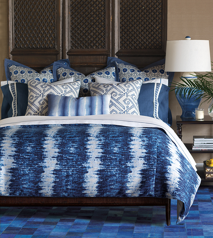 Indigo - made in america, bohemian, handpainted, ombre, made in usa, boho, blue, azure, shibori, tie-dye, lattice, motif, pattern, bedding, bedding collection, bedset, duvet cover, duvet, comforter, bed pillows, pillows, decorative pillow, accent pillow, throw pillow, sham, luxury, luxurious, coastal, beach, beachy, high-end, high-quality, designer, barclay butera, 100% cotton, 100% linen, denim, exotic, ethnic, tribal, global, eclectic, home decor, interior design