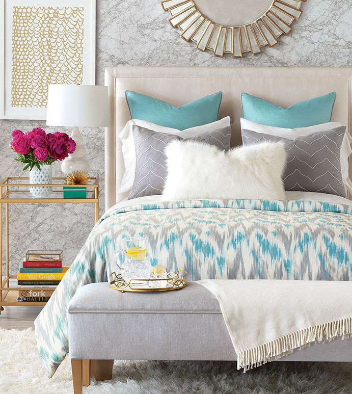 Eloise - boho, fun, funky, hip, bohemian, global, ethnic, tribal, ikat, faded, artsy, painterly, blue, grey, white, faux fur, chic, glam, opulent, texture, contemporary, glamorous, bedding, bedset, bedding collection, bedding ensemble, duvet cover, duvet, comforter, euro sham, king sham, standard sham, boudoir, decorative pillow, accent pillow, throw pillow, trim application, tropical, zig-zag, chevron, curtain, draperies, window treatment, 100% cotton, linen, fur, ivory, beach