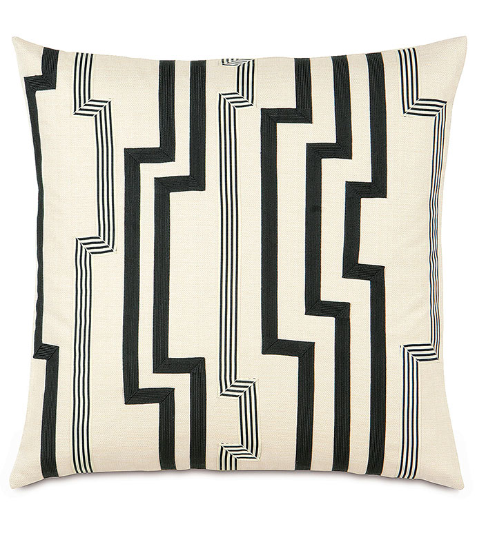 FOLLY PARCHMENT WITH GRAPHIC TRIMS - BLACK,CLASSIC,CREAM,NEUTRAL,TRADITIONAL,PATTERNED,INTERIOR DESIGN,STYLE,BEDDING,LUXURY BEDDING,HOME DECOR,BEDROOM,ACCENT,TRIM,GEOMETRIC,STRIPE,GRAPHIC,SQUARE,CONTRAST,PINSTRIPE