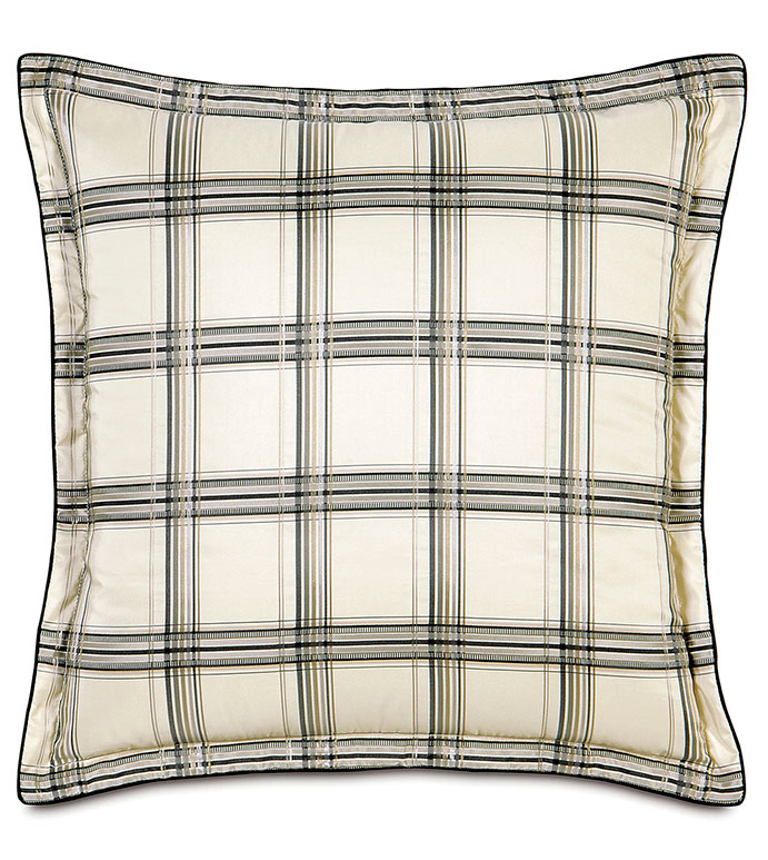 BECKETT INK WITH FLANGE - PLAID,BLACK,WHITE,GREY,TAN,SILVER,CLASSIC,CHECKERED,CREAM,NEUTRAL,TRADITIONAL,PATTERNED,INTERIOR DESIGN,STYLE,BEDDING,LUXURY BEDDING,HOME DECOR,BEDROOM,ACCENT,SQUARE,PILLOW,CORD