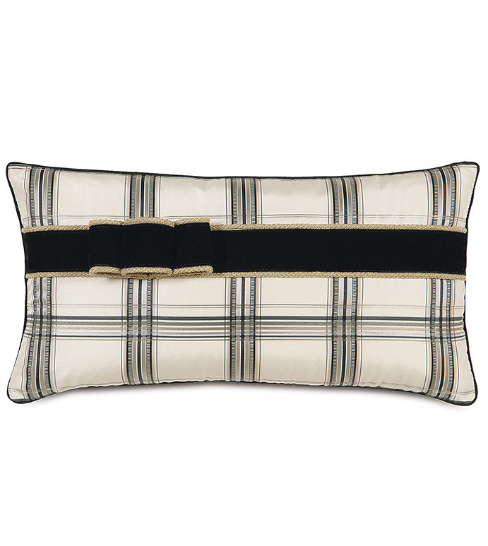 BECKETT INK WITH RIBBON - PLAID,BLACK,WHITE,GREY,TAN,SILVER,CLASSIC,CHECKERED,CREAM,NEUTRAL,TRADITIONAL,PATTERNED,INTERIOR DESIGN,STYLE,BEDDING,LUXURY BEDDING,HOME DECOR,BEDROOM,ACCENT,GOLD,RIBBON,BOW