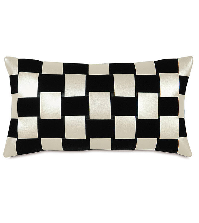KLEIN SHELL RIBBON WEAVE - BLACK,WHITE,GREY,CLASSIC,CHECKERED,CREAM,NEUTRAL,TRADITIONAL,PATTERNED,INTERIOR DESIGN,STYLE,BEDDING,LUXURY BEDDING,HOME DECOR,BEDROOM,ACCENT,SQUARE,WEAVE,RIBBON,TEXTURE,PILLOW