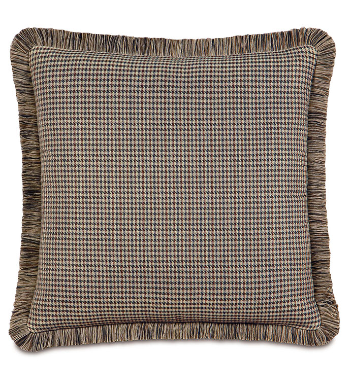 Woodside Oak WITH brush fringe - FLANNEL PILLOW,PLAID PILLOW,TAN,BROWN,SLATE,GREY,GRAY,BROWN PILLOW WITH FRINGE,RUSTIC PILLOW,LODGE PILLOW,MOUNTAIN,COUNTRY,CLASSIC,TRADITIONAL,OVERSIZED PILLOW,BROWN PLAID PILLOW