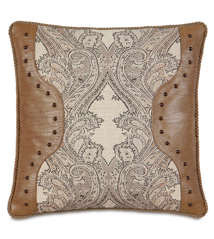 Aiden insert WITH cord - lodge pillow,country pillow,mountain home pillow,country,saddle leather,nailhead pillow,paisley pillow,nailhead,faux leather,traditional,tan,caramel,neutral lodge,tan paisley