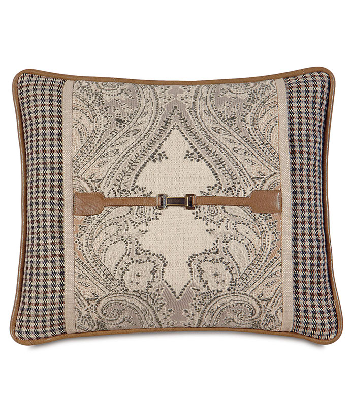 Aiden Oat insert - pillow with buckle,lodge pillow,country pillow,mountain,rustic pillow,tan paisley,checkered,tan,ivory,cream,square pillow,lodge,mountain home,faux leather,saddle,buckle,welt
