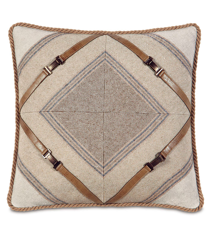 Ashbrooke Wheat mitered - COUNTRY PILLOW,MOUNTAIN HOME PILLOW,LODGE PILLOW,SOUTHWEST,RUSTIC,FAUX LEATHER,SADDLE LEATHER,LEATHER BUCKLE,MITERED PILLOW,TAN,CREAM,SADDLE,CARAMEL,ANTIQUE BRASS,BUCKLE,STRIPED