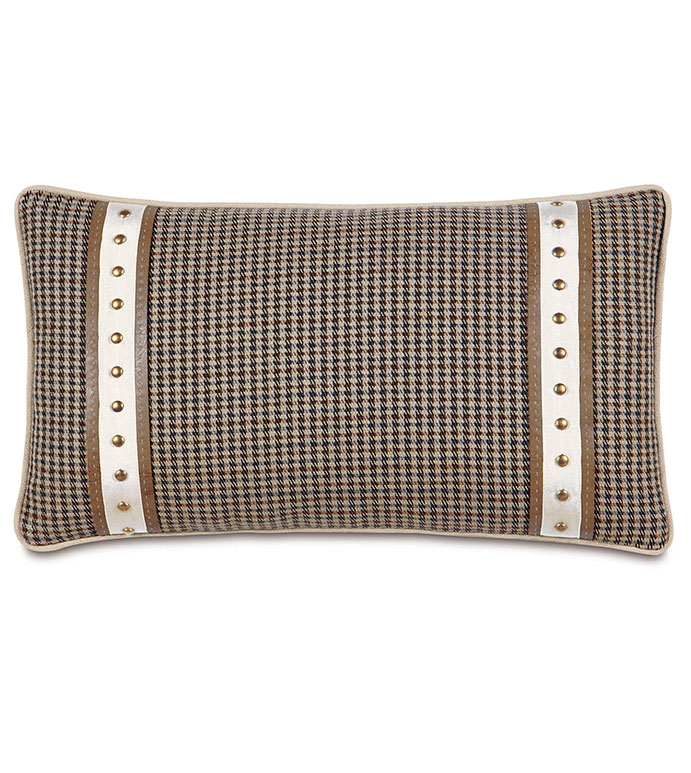 Aiden Oblong Decorative Pillow - FLANNEL PILLOW,PLAID PILLOW,TAN,BROWN,SLATE,COUNTRY,LODGE,MOUNTAIN,RUSTIC PILLOW,NAILHEAD ACCENT,BRASS NAILHEAD,BOLSTER PILLOW,LODGE HOME PILLOW,CLASSIC,SADDLE LEATHER,FAUX LEATHER