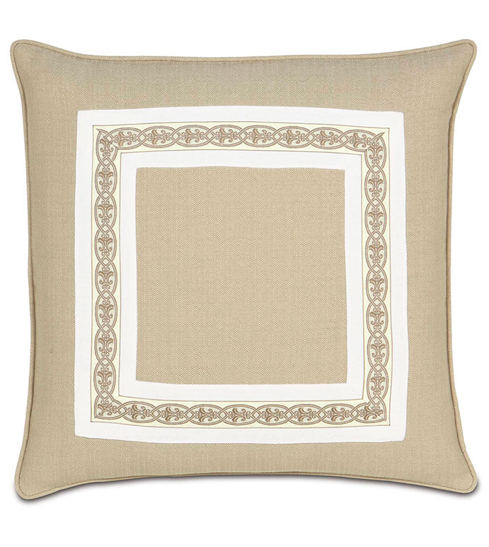 VIVO BISQUE WITH BORDER - TAN DECORATIVE PILLOW,NEUTRAL BEDDING,CLASSIC,NEUTRAL,TRANSITIONAL,INSET BORDER,WHITE AND TAN,OVERSIZED,SQUARE,CONTRAST TRIM,MITERED TRIM,APPLIQUE,SAND,WELT EDGE,CORD,MITER