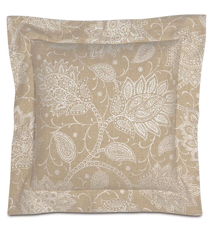 AILEEN WITH DOUBLE FLANGE - tan paisley,neutral paisley,neutral paisley pillow,neutral floral pillow,classic,transitional,floral printed,cream,ivory,white,large paisley,tan and white,flange edge,border,square