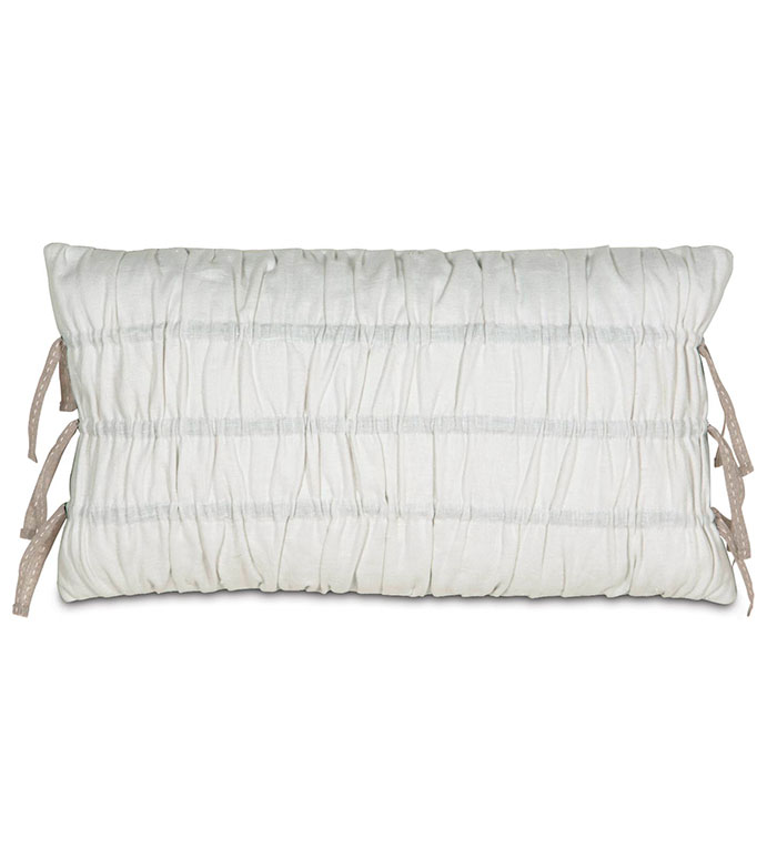 BREEZE WHITE RUCHED - RUCHED PILLOW,WHITE RUCHED PILLOW,PILLOW WITH RUCHING,WHITE LINEN,WHITE AND TAN,TAN,CREAM,IVORY,NEUTRAL,BOLSTER,SOLID LINEN,CLASSIC,FEMININE,TIES,BOWS,RIBBON,GATHERED PILLOW