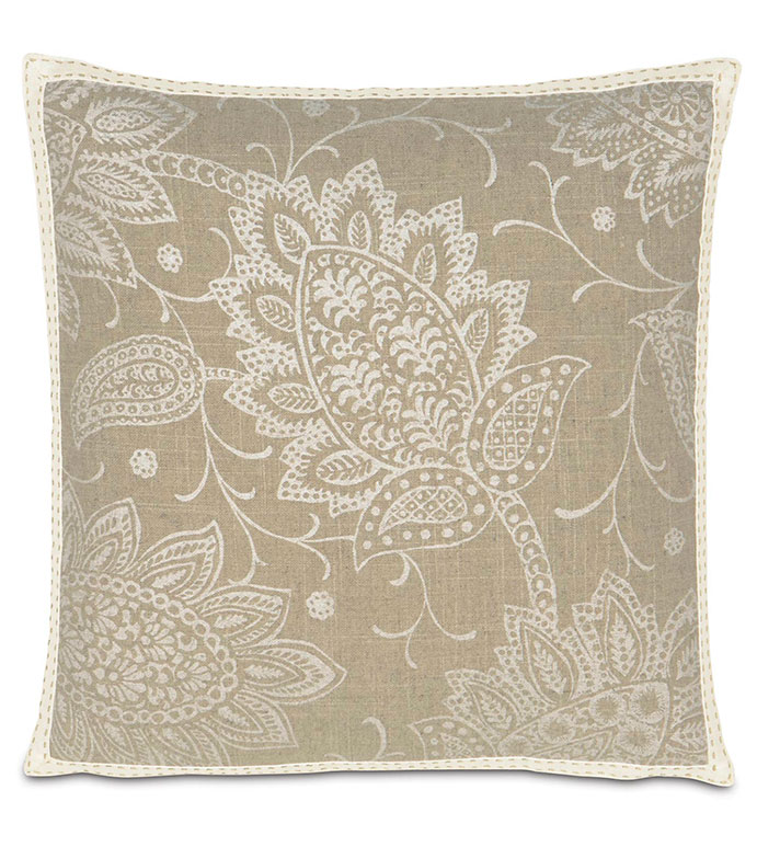 AILEEN WITH RIBBON - TAN PAISLEY,NEUTRAL PAISLEY,NEUTRAL PAISLEY PILLOW,NEUTRAL FLORAL PILLOW,CLASSIC,TRANSITIONAL,FLORAL PRINTED,CREAM,IVORY,WHITE,LARGE PAISLEY,TAN AND WHITE,TRIM EDGE,BORDER,SQUARE