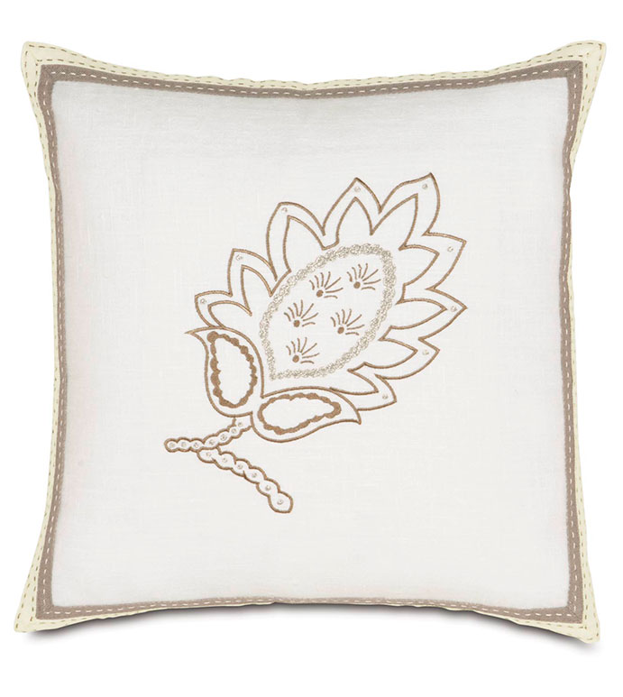 BREEZE WHITE EMBROIDERED - WHITE EMBROIDERED PILLOW,FLORAL EMBROIDERED PILLOW,FLORAL EMBROIDERY,WHITE AND TAN,NEUTRAL,CLASSIC,TRANSITIONAL,EMBROIDERED DESIGN,TRIM EDGE,SOLID LINEN,WHITE LINEN,IVORY