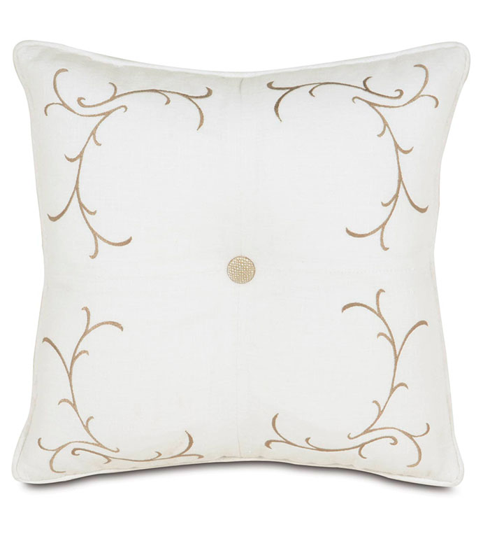 BREEZE WHITE TUFTED EMBROIDERED - WHITE EMBROIDERED PILLOW,FLORAL EMBROIDERED PILLOW,FLORAL EMBROIDERY,WHITE AND TAN,NEUTRAL,CLASSIC,TRANSITIONAL,DEEP TUFTED,BUTTON TUFTED,SOLID LINEN,WHITE LINEN,IVORY,BUTTON