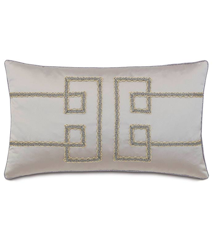 Daza Mink WITH geometric design - SILVER,TAUPE,GREY,WELT,PILLOW,PATTERN,DESIGN,MODERN,TRIM,ACCENT,METALLIC,GLAM,BEDROOM,BED,LUXURY BEDDING,INTERIOR DESIGN,CLASSY,JEWEL,GREEK KEY,RECTANGLE,GEOMETRIC,DESIGNER