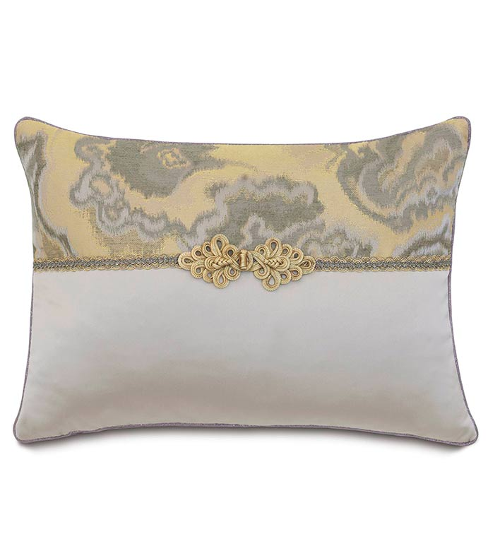 Amal/Daza Mink WITH frog tie - SILVER,TAUPE,GREY,WELT,PILLOW,PATTERN,DESIGN,GLAM,MODERN,TRIM,ACCENT,METALLIC,BEDROOM,BED,LUXURY BEDDING,INTERIOR DESIGN,JEWEL,DESIGNER,ABSTRACT,WOVEN,TRIM,ENVELOPE,CONTRAST