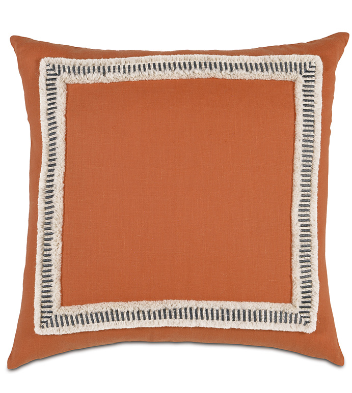 Breeze Tangerine WITH border - DECORATIVE PILLOW,SQUARE,TANGERINE,ORANGE,WHITE,BLACK,PATTERNED,CONTEMPORARY,BEDDING,KNIFE EDGE,BEDROOM,MITERED TRIM FACE,FRINGE,STRIPED,AZTEC,BEACH HOUSE,LINEN,