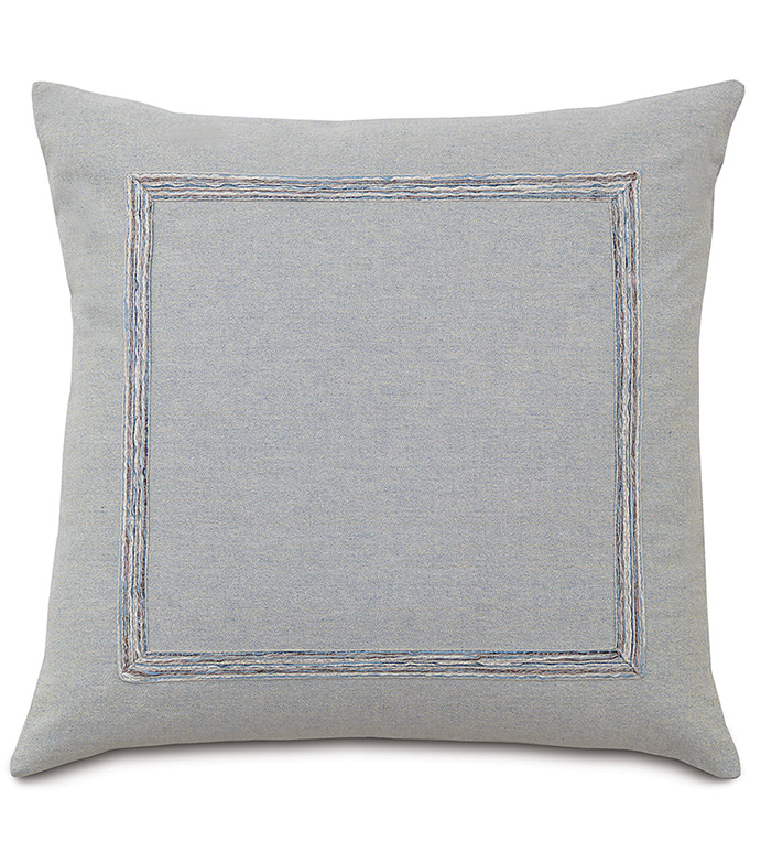 Sheldon Glaze WITH mitered gimp - DECORATIVE PILLOW,SQUARE,KNIFE EDGE,GREY,WHITE,BLUE,METALLIC,SOLID COLOR,SILVER,MITTERED TRIM,BEDDING,BEDROOM,COTTON,TRANSITIONAL,SOFT,ZIPPER CLOSURE,FACE DESIGN,
